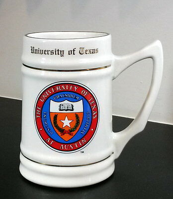 """University of Texas at Austin ceramic beer stein w multi-colored crest 5½"""" high."""