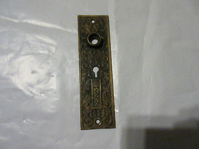Antique Brass Eastlake Victorian Door Knob Double Key Back Plate