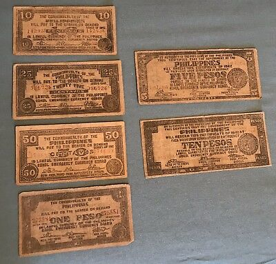 Philippines WWII Emergency & Guerrilla 6 notes 1942-43 from Bohol Province