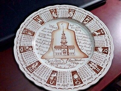 Vintage 1966 Calendar Plate Independence Hall Let Freedom Ring Signs of Zodiac