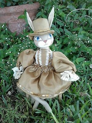 "Holiday Folk Art Christmas Rabbit ""Molly Claire "" 14"" collectible decoration"