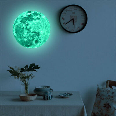 3D Large Moon Glow In The Dark Fluorescent Wall Sticker Removable Decal US