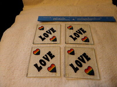 Vintage hand painted stained glass coaster set - Rainbow Love - great condition
