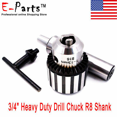 "NEW 3/4"" Heavy Duty Drill Chuck R8 Shank in Prime Quality R8 Drill Chuck Keyed"