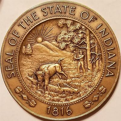 "Vintage Bronze Medal 1816 1966 INDIANA SESQUICENTENNIAL 2 1/2"" MEDALLIC ART Co."