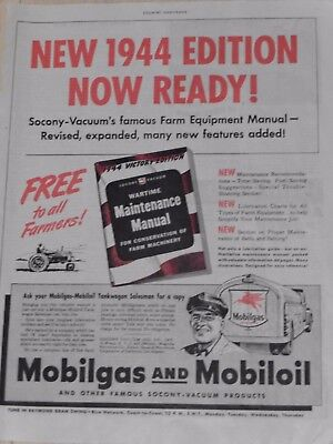 1944 Mobilgas Mobil oil Wartime Maintenance Manual Ad  Socony-Vacuum WWII
