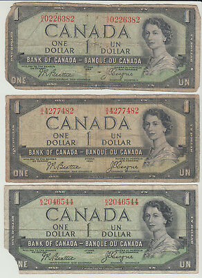 Lot of 6 1954 Canada $1 Devil's Face Banknotes Low Grade