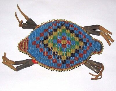 Rare Antique Native American Plains Indian Beaded Buckskin Turtle Amulet