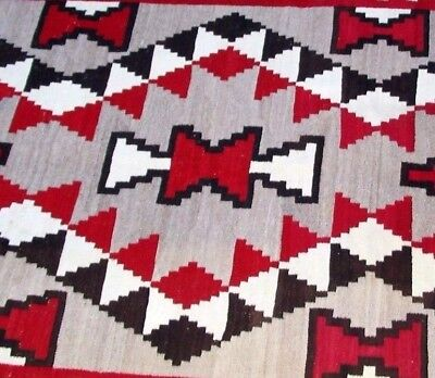 "Large Antique Navajo Indian Rug, Blanket Native Textile Weaving, 4'5"" by 7'2"""