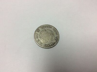 A Colombia 1871 Un 1 Decimo Silver World Coin South America Low Mintage 144,000