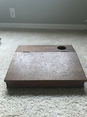 Antique Wooden Lap Desk with hole for Inkwell and Storage underneath