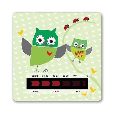 Owl & Ladybird Bath Thermometer Card With New Moving Line Technology - Green