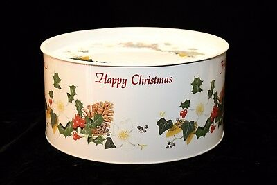 Vintage Christmas Cake Tin - Holly and Berries - Made in England - GVC