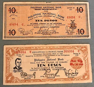 Philippines WWII Emergency & Guerrilla 2 diff10 peso notes from Iloilo Province