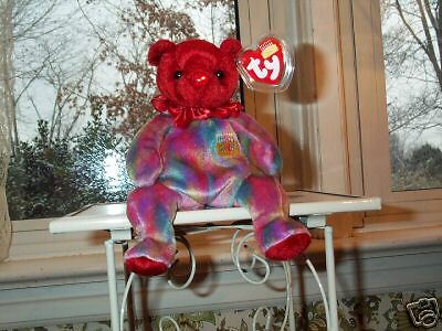 TY Beanie Baby babies bear July Ruby Birthday Bear retired mint with mint tags