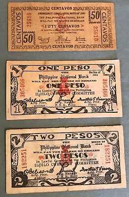 Philippines WWII Emergency & Guerrilla 3 diff notes from Iloilo Province