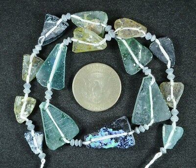 Ancient Roman Glass Beads 1 Medium Strand Aqua And Green 100 -200 Bc 714