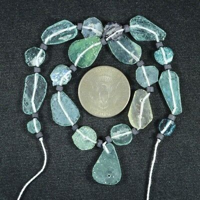 Ancient Roman Glass Beads 1 Medium Strand Aqua And Green 100 -200 Bc 717