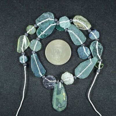 Ancient Roman Glass Beads 1 Medium Strand Aqua And Green 100 -200 Bc 718