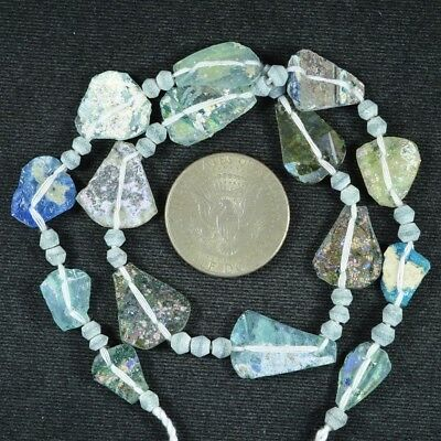 Ancient Roman Glass Beads 1 Medium Strand Aqua And Green 100 -200 Bc 721