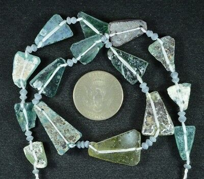 Ancient Roman Glass Beads 1 Medium Strand Aqua And Green 100 -200 Bc 723