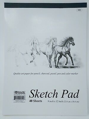 "Bazic Sketch Pad Book  9"" x 12"" 40 Paper Sheets for Pencil Ink Pastel"