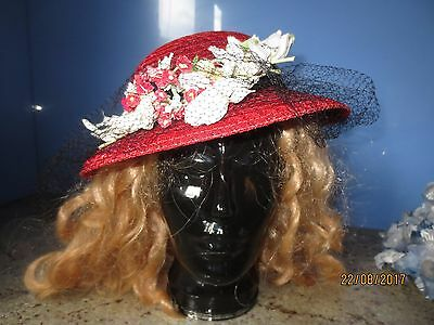 Vintage 30s/40s red straw hat flowers floral veil Betty-Co-Ed