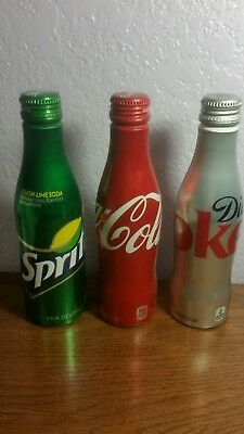 Set of 3 Coca-cola  Aluminum new unopened bottles of Sprite, Coke & Diet Coke.