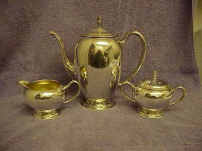 Oneida Ltd. Briarcliff Silver Plate Coffee Pot, Sugar Bowl with Lid & Creamer