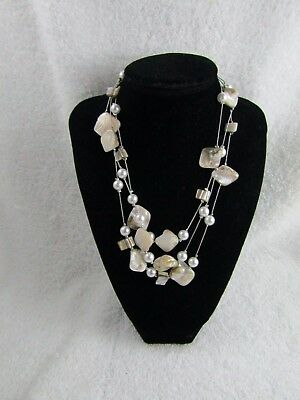 """Mother of Pearl Faux Pearl Silver Tone Three Strand Necklace 15 - 18 """""""