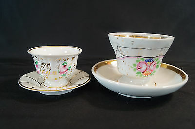 Lot of 2 Carl Tielsch German Hand Painted Cups & Saucers Circa 1870s - 1900