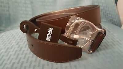 Michael Kors Brown Leather Belt with Silver Hardware and Metallic inside