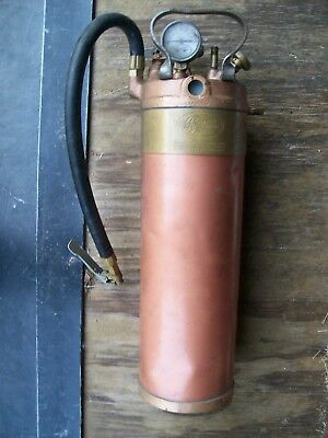 Antique Vintage Empty Copper Brass Small Fire Extinguisher Pyrene Gauge Handle