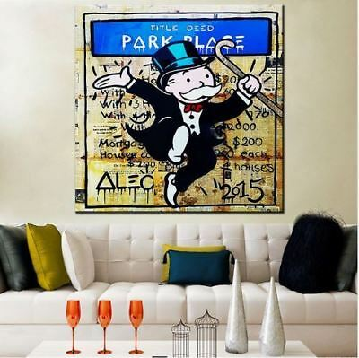 Alec Monopoly Oil Painting on Canvas Urban art Wall Decor Pablo Escobar 28x28""