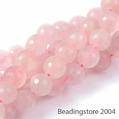 5 Strds Precious Natural Rose Quartz Beads Faceted Round Loose Gemstone Pink 8mm