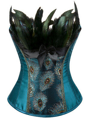 Hot Women Lady Lace-Up Feather Sequined Embroidered Corset