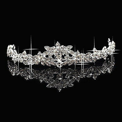 Classic Sparkly Crystal Rhinestone Crown Tiara Wedding Prom Bride's Headband SQ