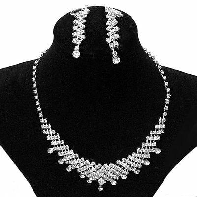 Bridal Prom Rhinestone Jewelry Crystal Wedding Necklace and Earring Set SQ