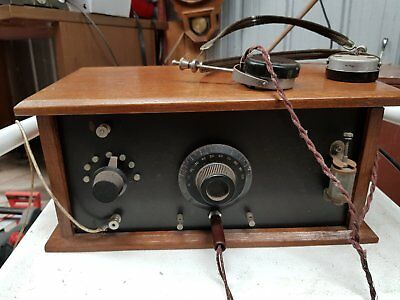 Crystal Set/Radio with headset-antique