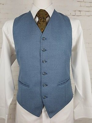 "Vtg Mens Single Breast 2 Pocket Blue 1970s Gaberdine Waistcoat -40""- EP21"