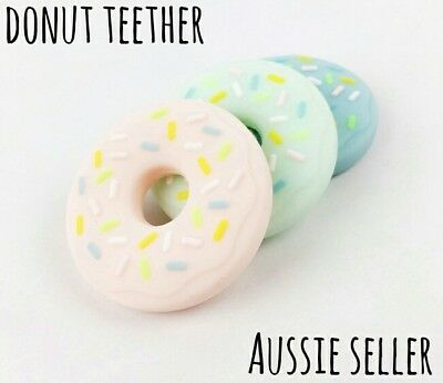 Silicone Donut Ring Bead Necklace Baby Safe Chew Teething Teether Dummy Pendant