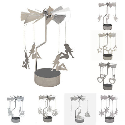 Rotating Spinning Carrousel Tea Light Candle Holder Center Decor Ornaments Metal