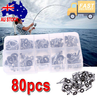 Lot 80pcs Fishing Rod Guide Tip Repair Kit Eye Rings Stainless Set W/ Fish Box