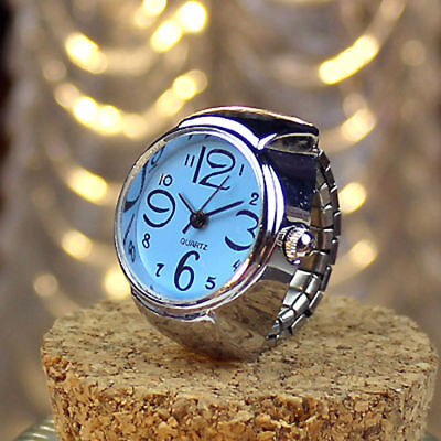 Unisex Stainless Steel Dial Quartz Analog Finger Ring Watch IDEAL GIFT !