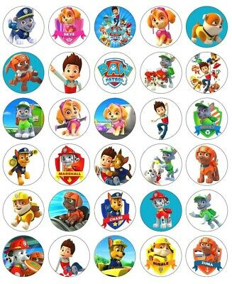 30 X Paw Patrol Edible Icing Cupcake cake toppers Birthday Party Image