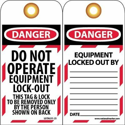 "NMC LOTAG11-25 Lockout Tag, ""DO NOT OPERATE EQUIPMENT LOCKED OUT"", 3"" Width x 6"""