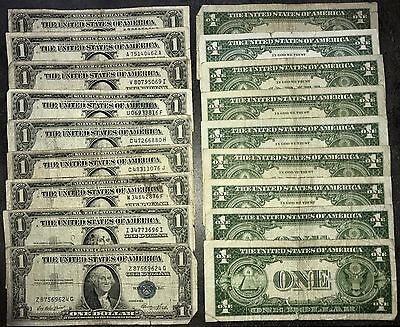 USA 1 Dollar Banknote 1935 & 1957 One Dollar Silver Certificate Blue Seal mix