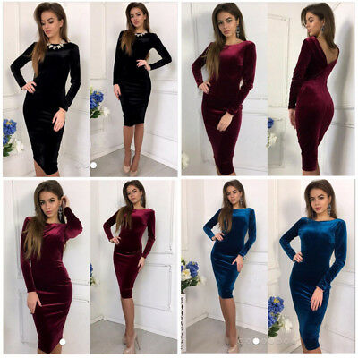 Women Backless Bodycon Velvet Mini Dress Cocktail Party Night Club Prom Formal