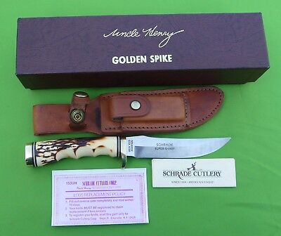 """Schrade USA 153UH Uncle Henry """"Golden Spike"""" Skinner with Sheath MIB"""