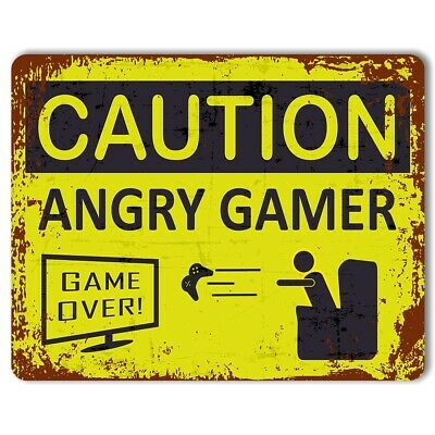 Caution: Angry Gamer - Vintage Metal Gaming Sign | Man Cave | Teenagers Bedroom
